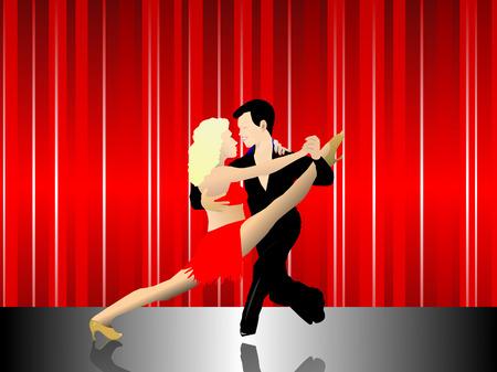 pavimento lucido: Una coppia di ballerini latino su un palco con una tenda rossa e pavimento lucido. L'uomo tiene la donna in un ballo latino pongono. Le altre formato EPS � una illustrazione AI8 salvato in formato. L'immagine pu� essere ridimensionata a qualsiasi dimensione senza la perdita o