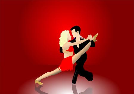 pavimento lucido: Una coppia di ballerini latino su un palco con una tenda rossa e pavimento lucido. L'uomo tiene la donna in un ballo latino pongono. Vettoriali
