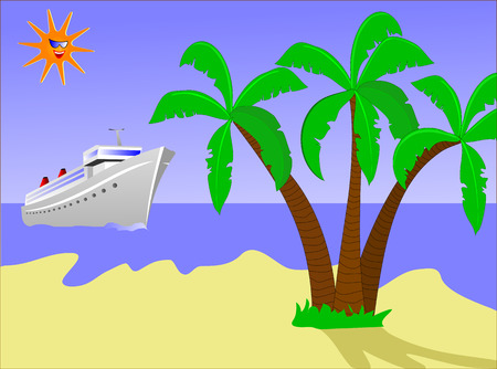 A cruise ship approching a desert island with palms and a golden beach with a smiling sun in the sky. The image is an vector saved as an AI8 file,which can be resized to any dimension without loss of quality