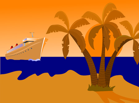 A cruise ship approching a desert island with palms and a golden beach at sunset. The illustration is an vector saved as an AI8 file,which can be resized to any dimension without loss of quality Illustration