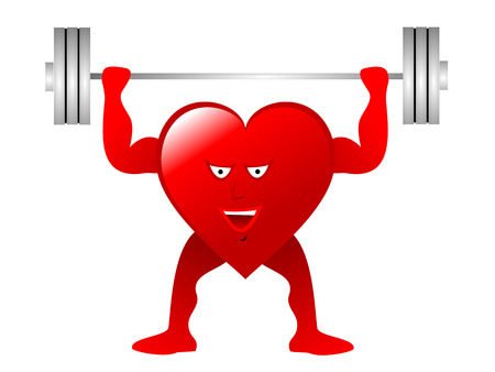 A large red Heart with arms, legs and smiling face lifting weights depicting an healthy heart isolated on a white background.