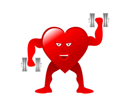A large red Heart with arms, legs and smiling face lifting weights depicting an healthy heart isolated on a white background. The additional format is an vector saved in AI8 format and can be resized to any dimension without loss of quality.