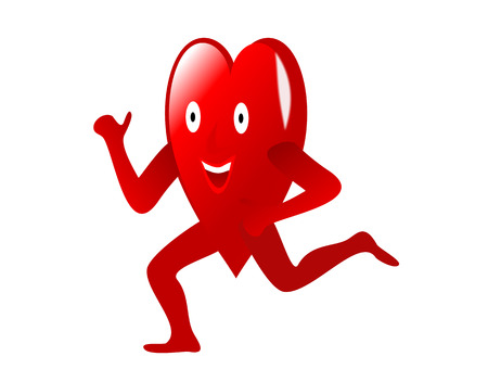 A large red Heart with arms, legs and smiling face running depicting an healthy heart isolated on a white background. The image is an vector saved in AI8 format and can be resized to any dimension without loss of quality.