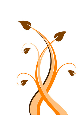 saved: An abstract floral illustration in orange with brown leaves isolated on a white ground. The image is an vector saved in AI8 format and can be resized to any dimension without loss of quality.