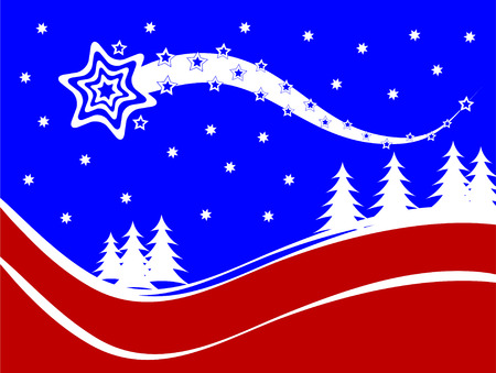 A vector christmas background illustration with a shooting star above a snow covered hillside Vector