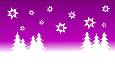 A christmas winter vector background illustration with a purple starry sky over a white tree lined snowy hill Vector