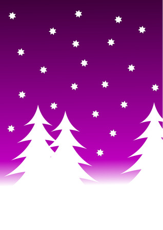 A vector christmas background illustration with a mauve starry sky over a white tree lined snowy hill Vector
