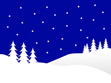 a blue vector christmas background illustration with a blue starry sky over a white tree lined snowy hill Vector