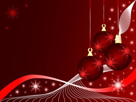 An abstract Christmas vector illustration with red baubles on a darker backdrop with white snowflakes and room for text Illustration