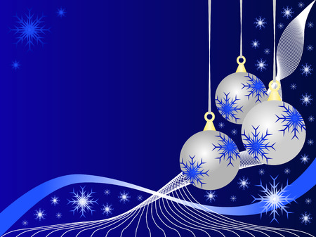 christmas room: An abstract Christmas vector illustration with silver baubles on a darker blue backdrop with white snowflakes and room for text