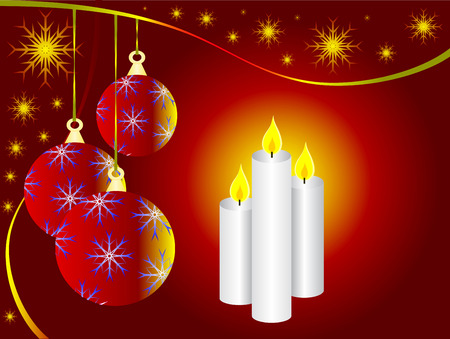 A vector illustration with a red christmas baubles and three christmas candles Vector