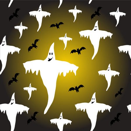 A seamless Halloween background which is fully tileable with ghosta and bats Vector