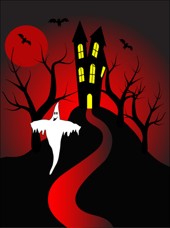 A halloween illustration with a happy ghost in front of a haunted house Stock Vector - 5710111