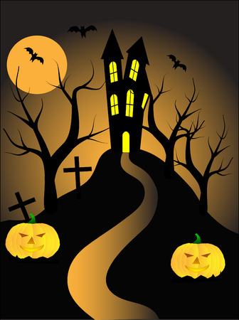 A halloween illustration with pumpkins in front of a haunted house Stock Vector - 5710121