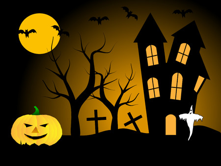 A halloween illustration with pumpkins in front of a haunted house Stock Vector - 5710110