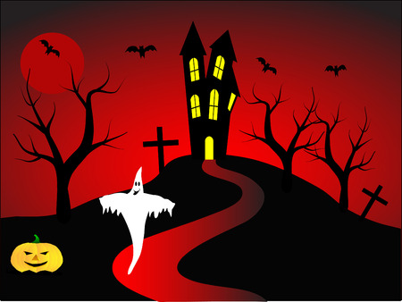 A halloween vector illustration with a happy ghost in front of a haunted house Vector