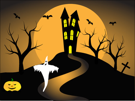 A halloween vector illustration with pumpkins in front of a haunted house Stock Vector - 5726274