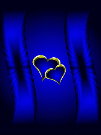 A valentines vector illustration with a gold heart with room for text on a deep blue background Vector