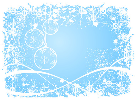 A sky blue christmas scene with baubles, swirls and snowflakes Vector