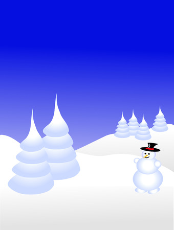 A sky blue christmas scene with a snowman on a snowy background with white snow covered trees  Vector