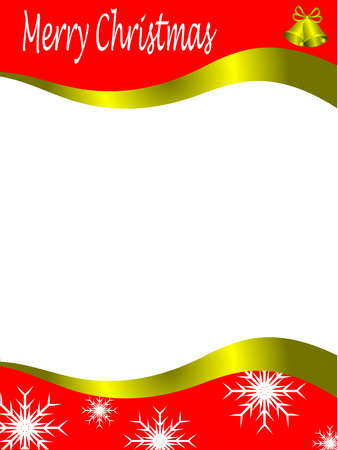 Vector christmas stationary wirh top and bottom christmas borders with room for a letter Vector