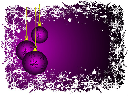 christmas room: An abstract Christmas vector illustration with purple baubles on a lighter backdrop with grunge snowflakes and room for text Illustration