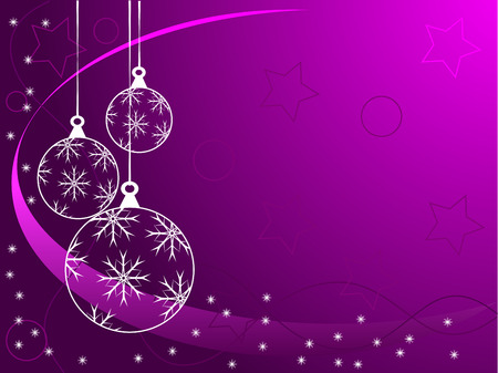 An abstract Christmas vector illustration with white outline baubles on a purle backdrop with white snowflakes and room for text Vector