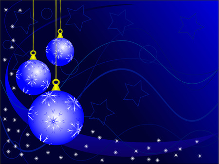 An abstract Christmas vector illustration with  sky blue baubles on a darker backdrop with white snowflakes and room for text Vector