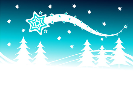A winter vector background illustration with a large snow covered christmas trees on snowy hills with a cyan starry evening sky with room for text  Vector