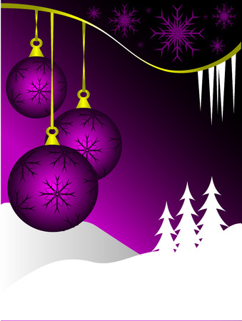 An abstract Christmas vector illustration with  purple baubles on a graduated backdrop with a white winter scene and room for text