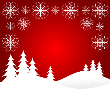 crimson: A winter background illustration with large snow covered christmas tree on snowy hills with large snowflakes with room for text    Illustration