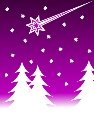 stary: An abstract christmas vector background illustration with a stary sky above a christmas tree covered hill