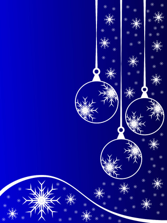 An abstract Christmas vector illustration with clear white outline baubles on a blue backdrop with white snowflakes and room for text Vector