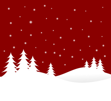 A winter vector background illustration with white trees on snowy hills with a red starry evening sky with room for text   Vector