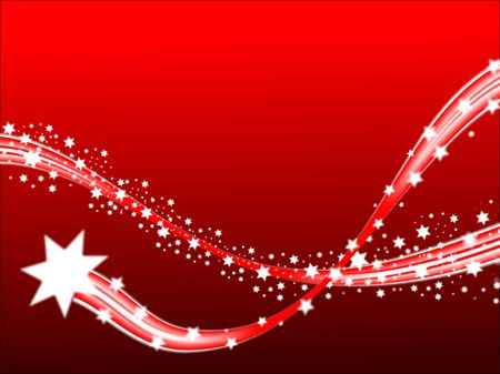 A shooting stars christmas scene on a red background with room for text