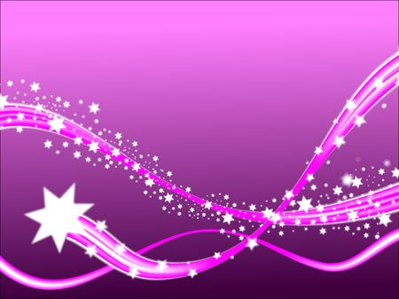 A shooting stars christmas scene on a purple background with room fro text
