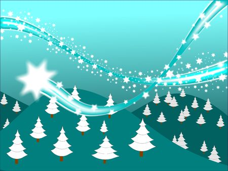 A shooting star on a graduated cyan  winter scene background Stock Photo - 5859934