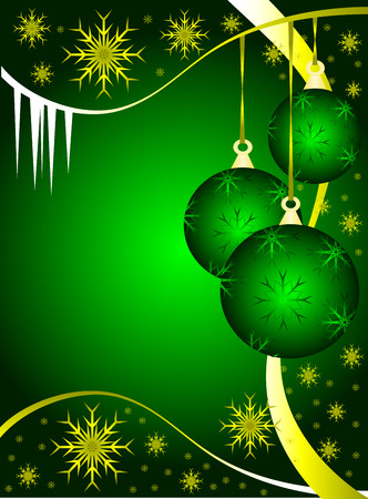 An abstract Christmas vector illustration with green baubles on a darker backdrop with gold snowflakes and room for text Illustration