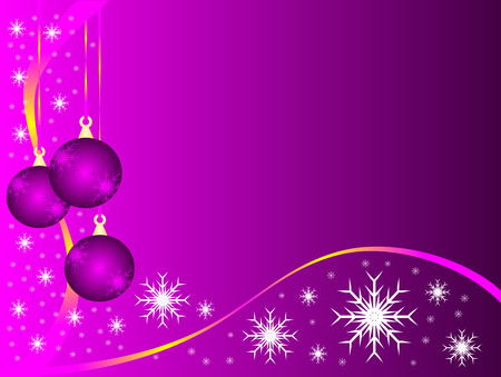 An abstract Christmas vector illustration with purple baubles on a lighter backdrop with white snowflakes and room for text Vector