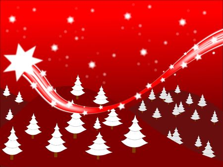 A shooting stars christmas scene on a red background with room for text Stock Photo - 5878700
