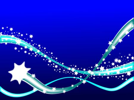 A shooting star on a graduated blue winter scene background with room for text photo