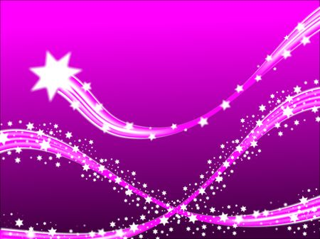 shooting star flower: A shooting stars christmas scene on a purple background with room fro text