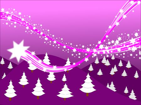 streaking: A shooting stars christmas scene on a purple background with room fro text