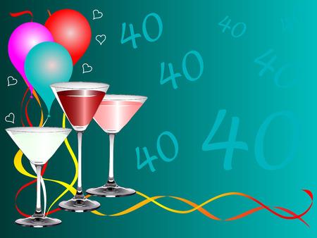 Plantilla con gafas de bebidas y globos de fondo de una fiesta de cumpleaños 40 º Foto de archivo - 5980758
