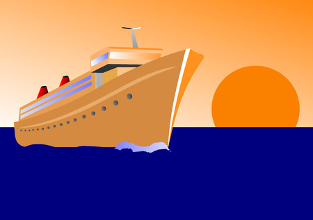 illustration of a cruise ship at sunset Vector