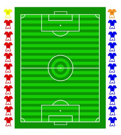 Een voetbal tactische voetbalveld met beweegbare spelers