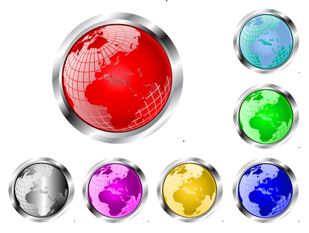 wire globe: A set of seven wire mesh earth globe web  buttons isolated on white Illustration