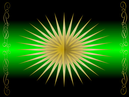 graduated: A gold star illustration on a green graduated backdrop