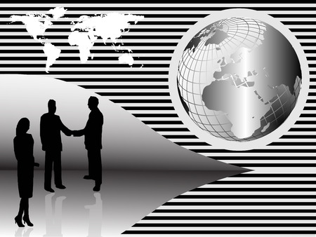 crimson: A group of business people shaking hand in front of a silver wire mesh globe of the earth Illustration