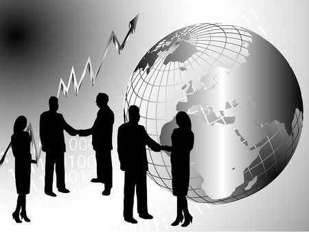 wire globe: A group of business people shaking hand in front of a silver wire mesh globe of the earth Illustration